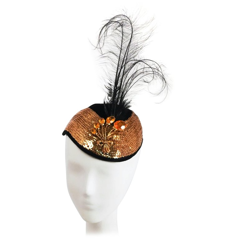 1930s Gold Sequin Black Cocktail Hat with Feather