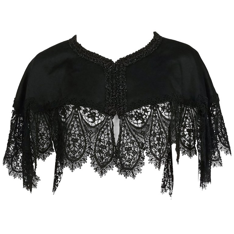 Victorian Black Beaded Battenburg Lace Mourning Capelet