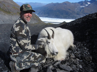 Darryl Turner and his big billy that he took on Sept. 11th. 9 4/8 x 5 2/8. B&C green score 48 0/8. Derryl was in awe of the spectacular glacial landscape these goats live in.