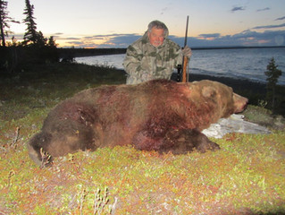 Harve Dethlefs from Forest Grove, OR. with his great 9' grizzly. Harve is 80 years old and shot this bear at 32 yards. Green B&C skull 25 5/16th. Harve is the oldest hunter I have ever taken out. He did good and got a great trophy for his efforts.