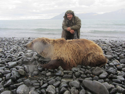 Steve Minore with his Blonde grizzly taken on day 3 of his hunt. Steve has taken 16 bears with us in the last 4 years. 4 Grizzly bear and 12 black bear. He loves to hunt bears and is returning again in 2019.