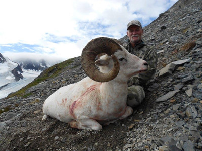 Kevin Oliver from Jamestown, CA with his fantastic, heavy, 12 year  old ram;  38 3/8 X 38 2/8 X 13 7/8, official B & C score 162 0/8.