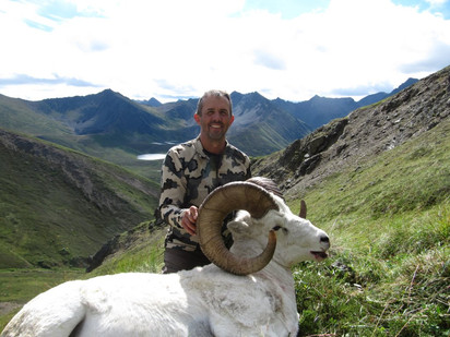 Troy Tidwell with his big opening day Chugach ram. 40 4/8 x 39 3/8 x 14 2/8. Official B&C score 164 1/8.