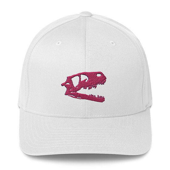 Edward Cope Dino Skull Fitted Structured Twill Cap (Pink) 3D Puff