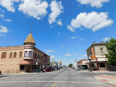 Historic downtown looking east on Main St in Ritzville, Wash