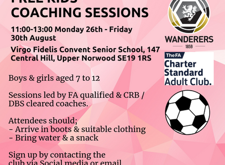 Free Children's Football Sessions during the Summer Holidays