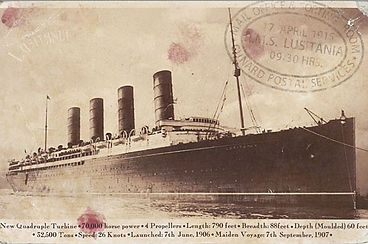 A postcard of RMS Lusitania sold at Suffolk auction house Lockdales
