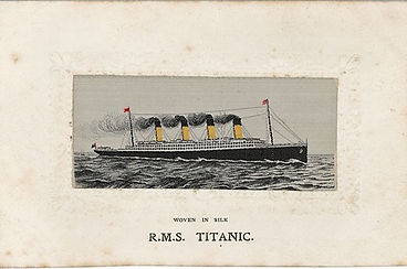A woven silk Titanic postcard sold by Suffolk auction house Lockdales
