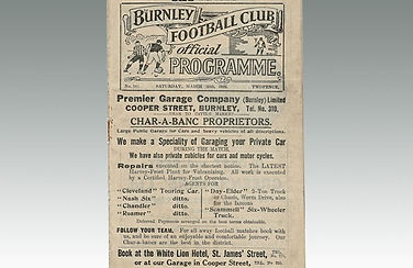 An antique football programme of Burnley Football Club sold by Lockdales auctioneers in Suffolk