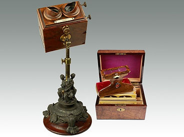 An antique Victorian walnut cased stereoscope sold by Suffolk auction house Lockdales