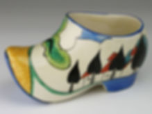 Clarice Cliff Bizarre pottery clog sold by Lockdales auction house in Suffolk