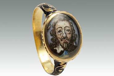 An antique 17th Century gold and enamel Charles I ring sold in Lockdales Suffolk auction