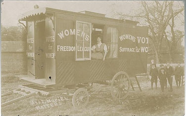 A Suffragette postcard of a Womens Suffrage Mobile Caravan sold in Lockdales Suffolk auction house