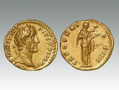 Gold aureus of the Emperor Antoninus Pius, Rome, sold by Roman coin specialist auction house Lockdales