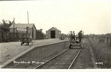 Postcard of Brockford Station on Mid-Suffolk Light Railway sold by Lockdales auction house