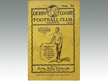 Antique football programme of Derby County Football Club sold by Suffolk auction house Lockdales