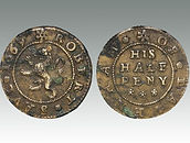 Halfpenny token of Robert Saul 1669, landlord of Red Lion pub, Lavenham, Suffolk, sold by coin auctioneers Lockdales