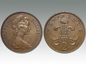 "Two Pence 1983 ""NEW PENCE"" error, sold by Suffolk auctioneers Lockdales"