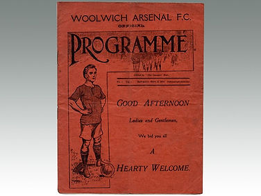 Antique football programme of Woolwich Arsenal FC, sold by Lockdales auction house in Suffolk
