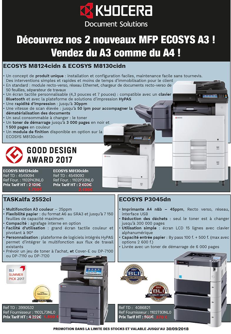 Imprimantes Lasers et MFP Kyocera 2018