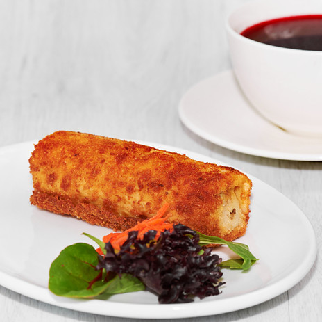 beetroot soup with croquette (