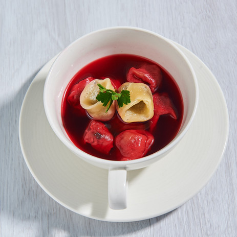 beetroot soup with ravioli  (