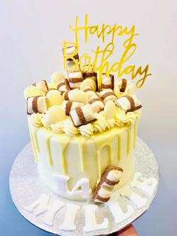 kinder white Choc cake