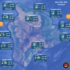 Hawaii Island Weather Forecast for May 13th, 2021