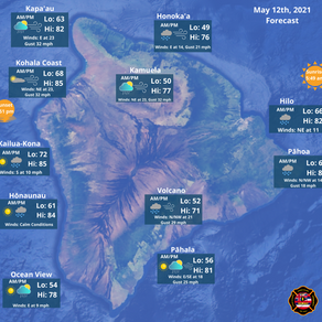 Hawaii Island Weather Update for May 12th, 2021