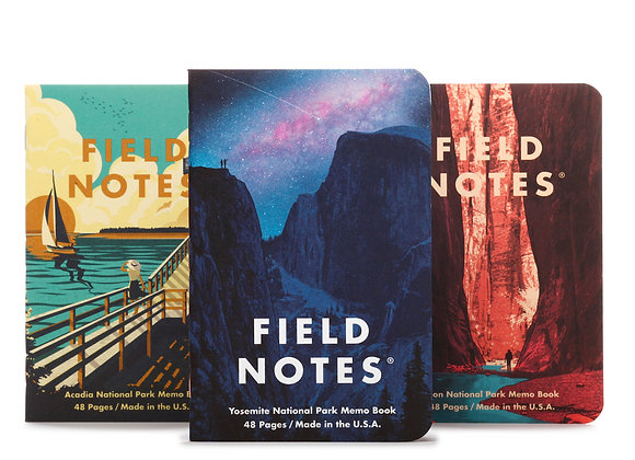 Field Notes National Parks Edition 3 Pack - Zion, Acadia,& Yosemite (Series A)
