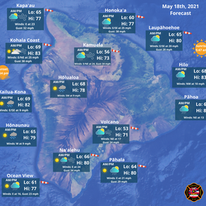 Island of Hawaii Weather Forecast for May 18th, 2021