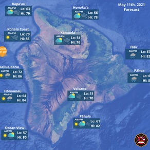 Hawaii Island Weather Forecast for May 11th, 2021