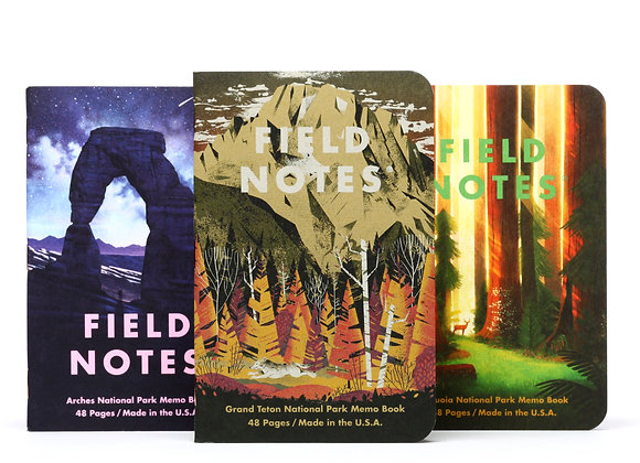 Field Notes National Parks Edition 3 Pack - Grand Teton, Arches, & Sequoia