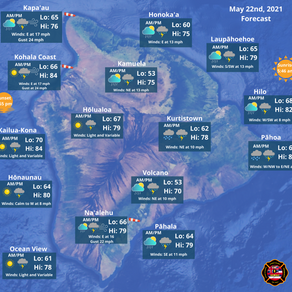 Island of Hawaii Weather Forecast for May 22nd, 2021