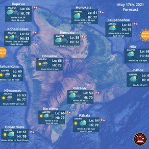 Island of Hawaii Weather Update for May 17th, 2021