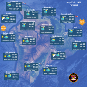 Island of Hawaii Weather Forecast for May 25th, 2021