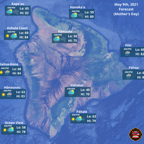 Hawaii Island Weather Forecast for May 9th, 2021