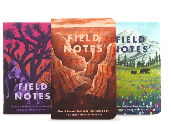 Field Notes National Parks Edition 3 Pack - Grand Canyon, Mt. Rainer, Joshua Tre