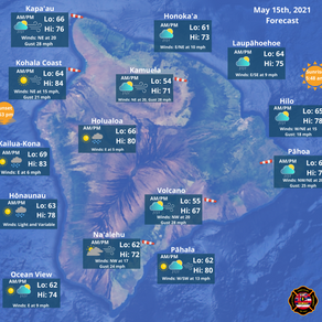 Island of Hawaii Weather Forecast for May 15th, 2021