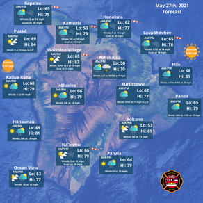 Island of Hawaii Weather Forecast for May 27th, 2021