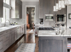 grey stained shaker transitional cabinets