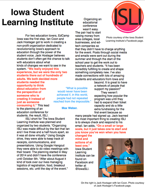 Palmer Writes About his ISLI Conference Experience