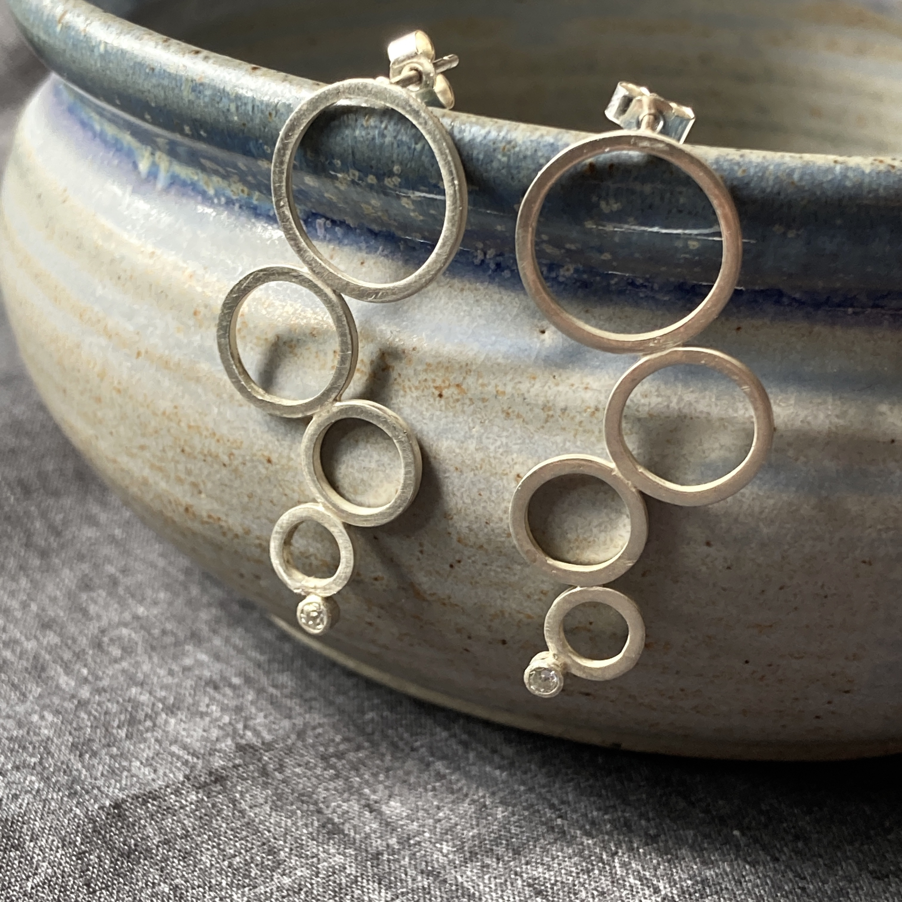 Falling Circles Earrings with CZ