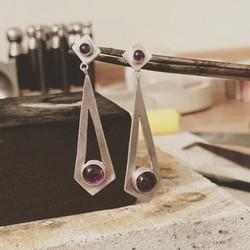 Art Deco Inspired Amethyst Earrings