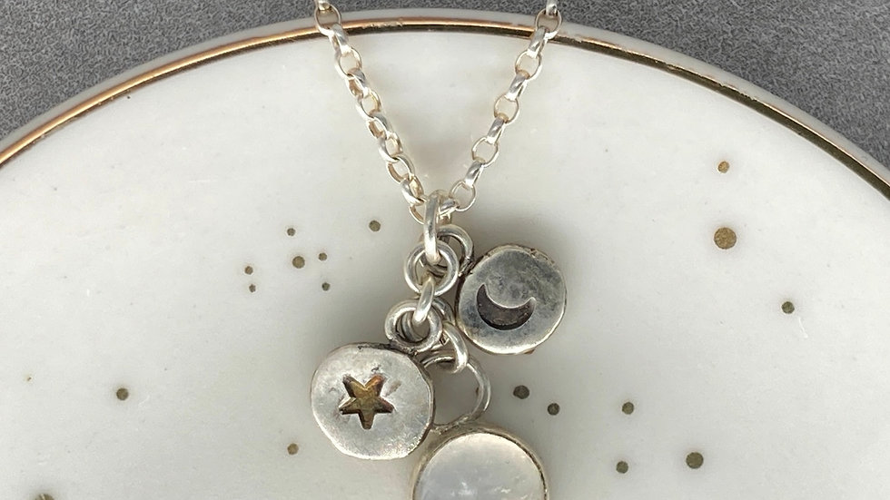 Moonstone and Celestial Charm Necklace