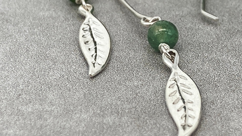 Moss Agate and Leaf Charm drops
