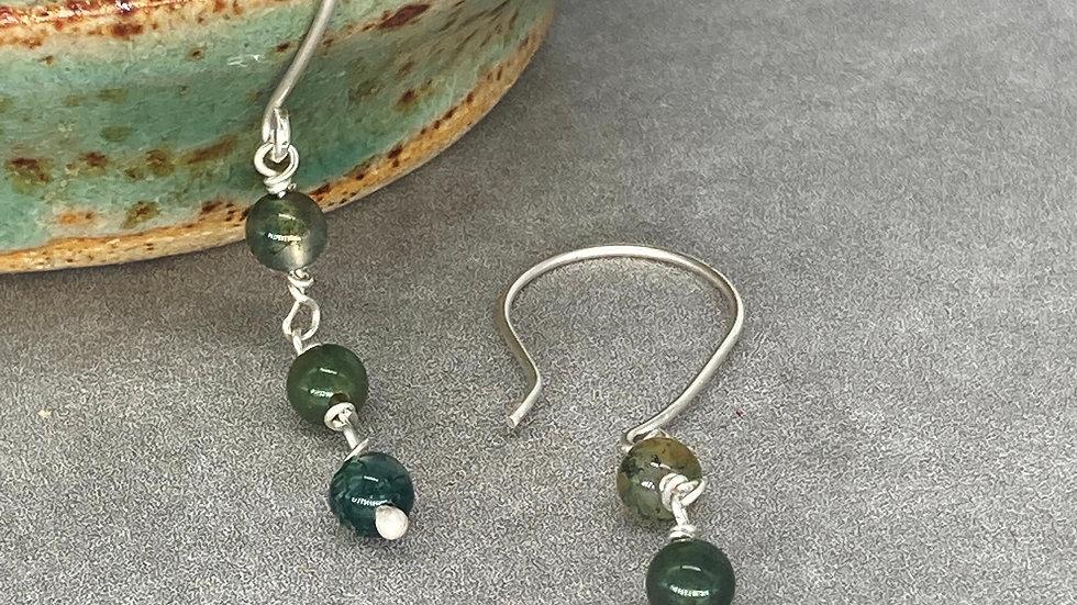 Moss Agate Drop Earrings