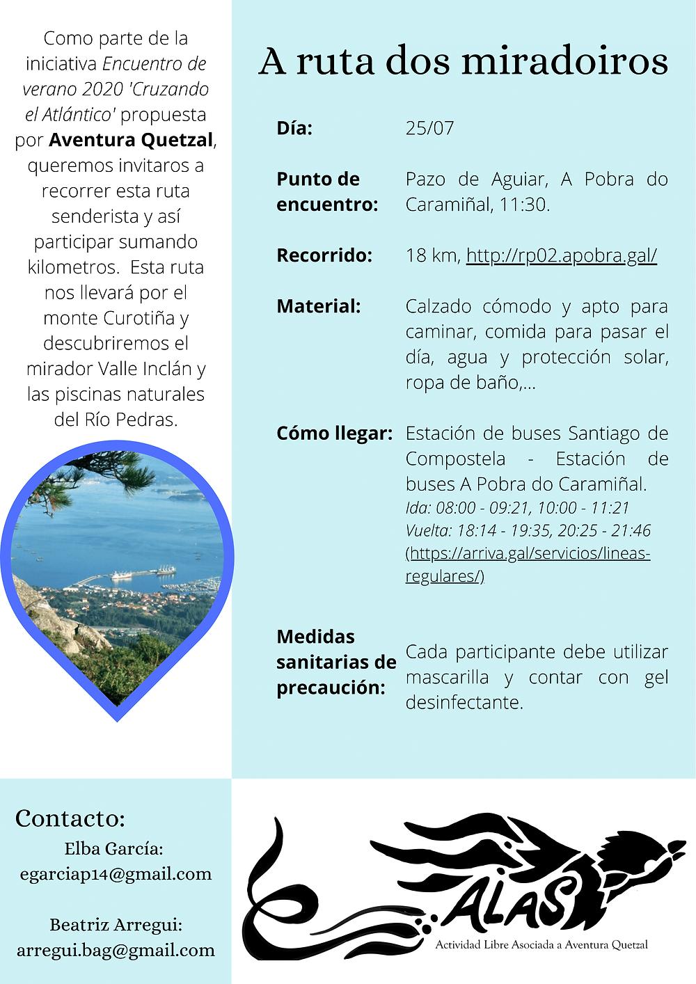 """Planning ALAS """"A ruta dos Miradoiros"""""""