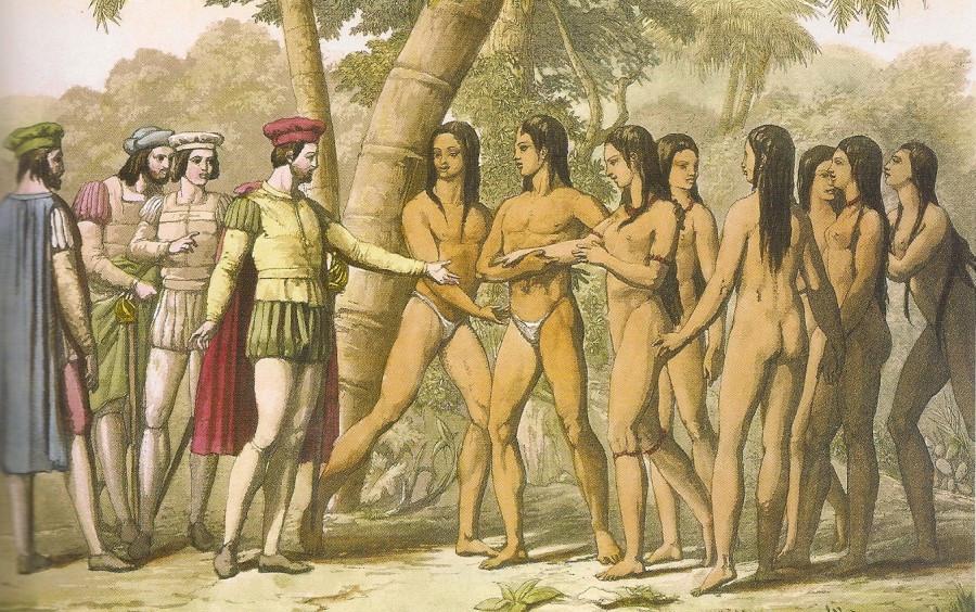 Representación de un encuentro entre conquistadores e indígenas. Autor desconocido.