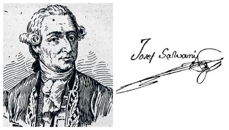 Grabado del Dr. Balmis (autor desconocido) y firma del Dr. Salvany (no existen cuadros suyos).